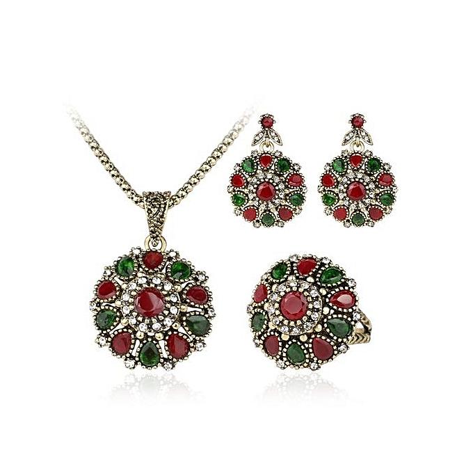 Generic Vintage Wedding Necklace Ring Earrings Jewelry Set