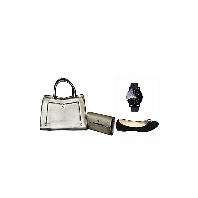 Offre Spéciale   Sac à Main Femme avec Pochette Noir Saumo + montre Quartz  noir et 4d14bc8e6231