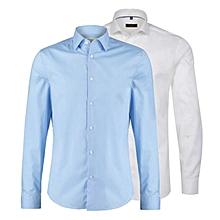 lot de 2 chemises slim fit - longues manches - blanc, bleu ciel