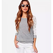 new casual ladies fashion spring korean fashion long-sleeved lace stitching round neck slim shirt-gray