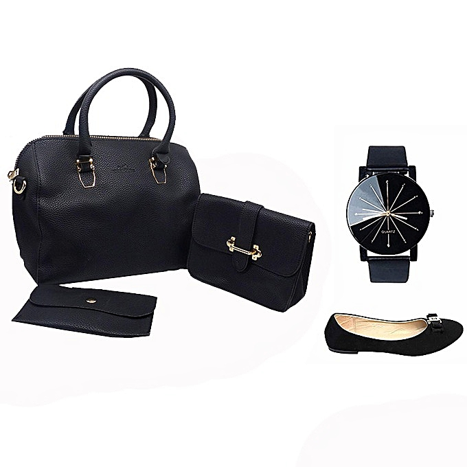 Pack Sac à Main Femme avec Pochette + Montre Quartz - Noir et 1 ballerines  offert 0db9d39ed4ba