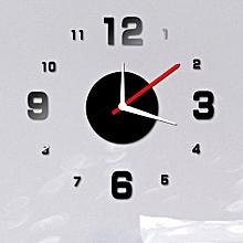 modern diy wall clock 3d mirror surface sticker home office decor black-black