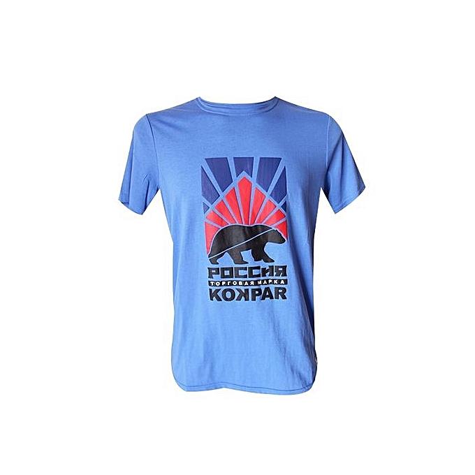 ec24c9aa35ab KOKPAR Tee-Shirt Homme - Col Rond - Bleu Ciel - 100% Coton - Prix ...