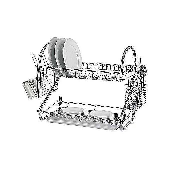 Egouttoir vaisselle 2 niveaux avec bac amovible for Meuble a boisson