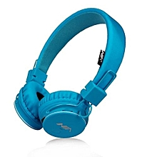 x2 - casque bluetooth - avec support micro carte tf - radio fm - bleu