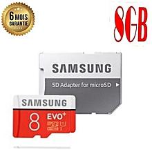 carte mémoire samsung 8go - evo plus - micro sd avec adaptateur sd - garantie 6 mois