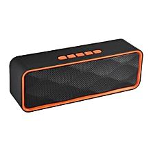 haut-parleur bluetooth sc-211 mini mains libres portable carte tf radio fm son stéréo double haut-parleur subwoofer lecteur de musique (orange)