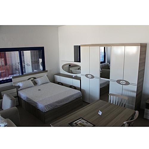 Chambre à coucher platinn dugun paketi lit matelas chevets coiffeuse armoire