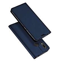 pour hw y7 prime 2019 cas dux ducis flip pu housse en cuir luxe stand portefeuille couverture-bleu