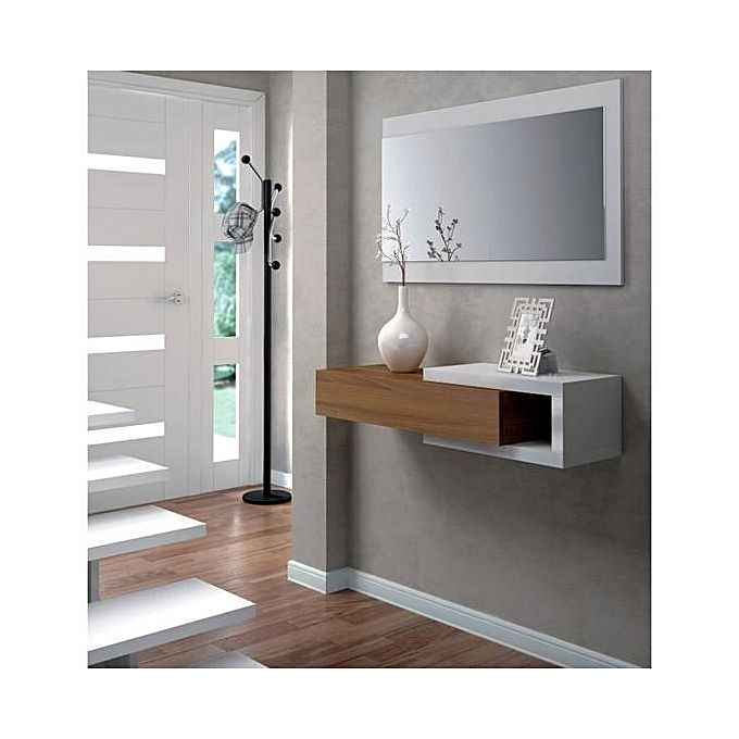 Noon console d 39 entr e style contemporain blanc l 95 cm jumia s n gal tables hautes - Console entree contemporain ...