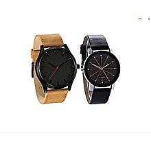 lot de 2 montres homme - simili cuir et femme quartz simili cuir - noir
