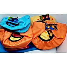 couches lavables pack confort garcon : 4 culottes (t1 bleu,t2 orange,t3 jaune,t3 orange)+ 12 inserts + 1 sac bleu