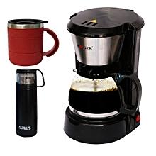 pack: mug isotherme portable - 450 ml rouge + thermos à chaud 24h - 500 ml +  machine à café - 1.5 litre - 800 w noire haeger