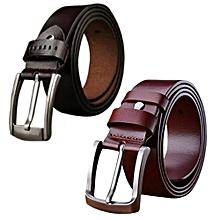 pack de 2 ceintures - simili cuir - noir et marron