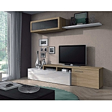 meuble tv nexus contemporain blanc et chne 200 cm