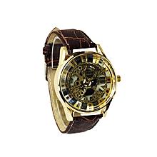 montre squelette classic homme - bracelet simili cuir - marron