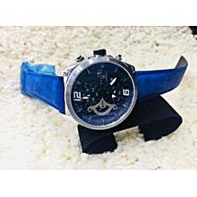 montre pour homme - fond de cadran blanc - bleu