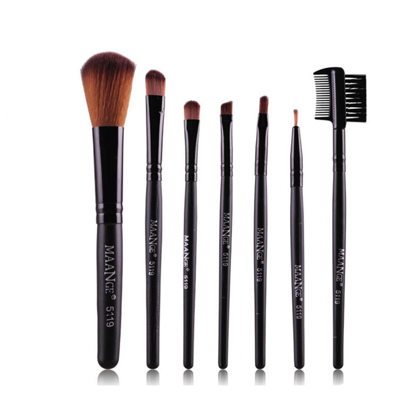Pro 7 PCS Makeup Brush Set Tools Foundation Make Up Toiletry Kit Eyebrow Eye Shadow Brush Make Up Blush Set