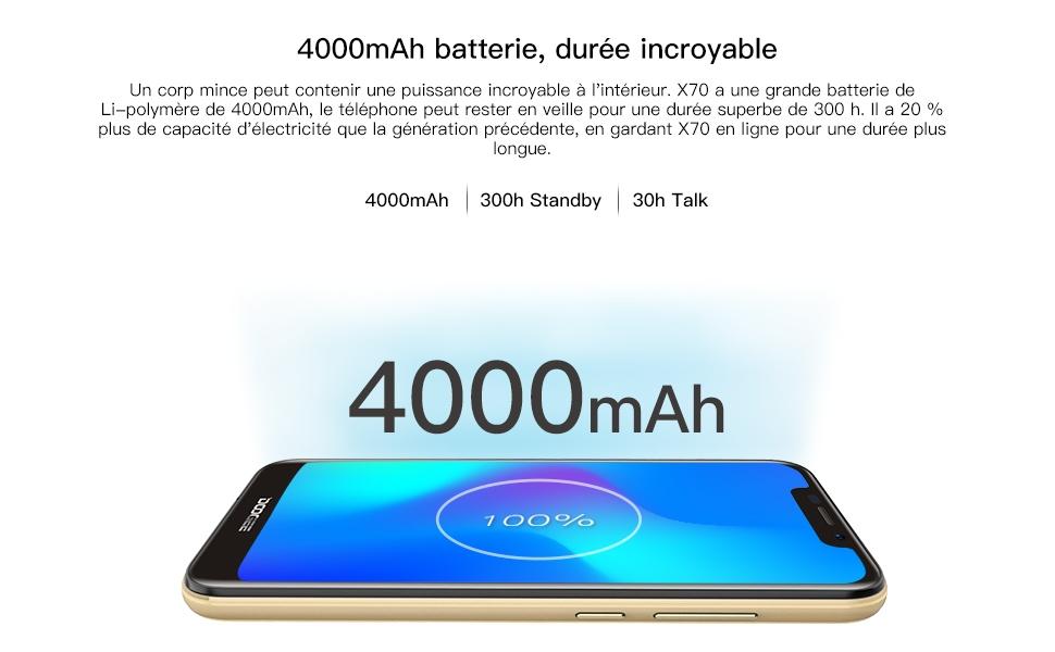 DOOGEE X70, 4000mAh battery