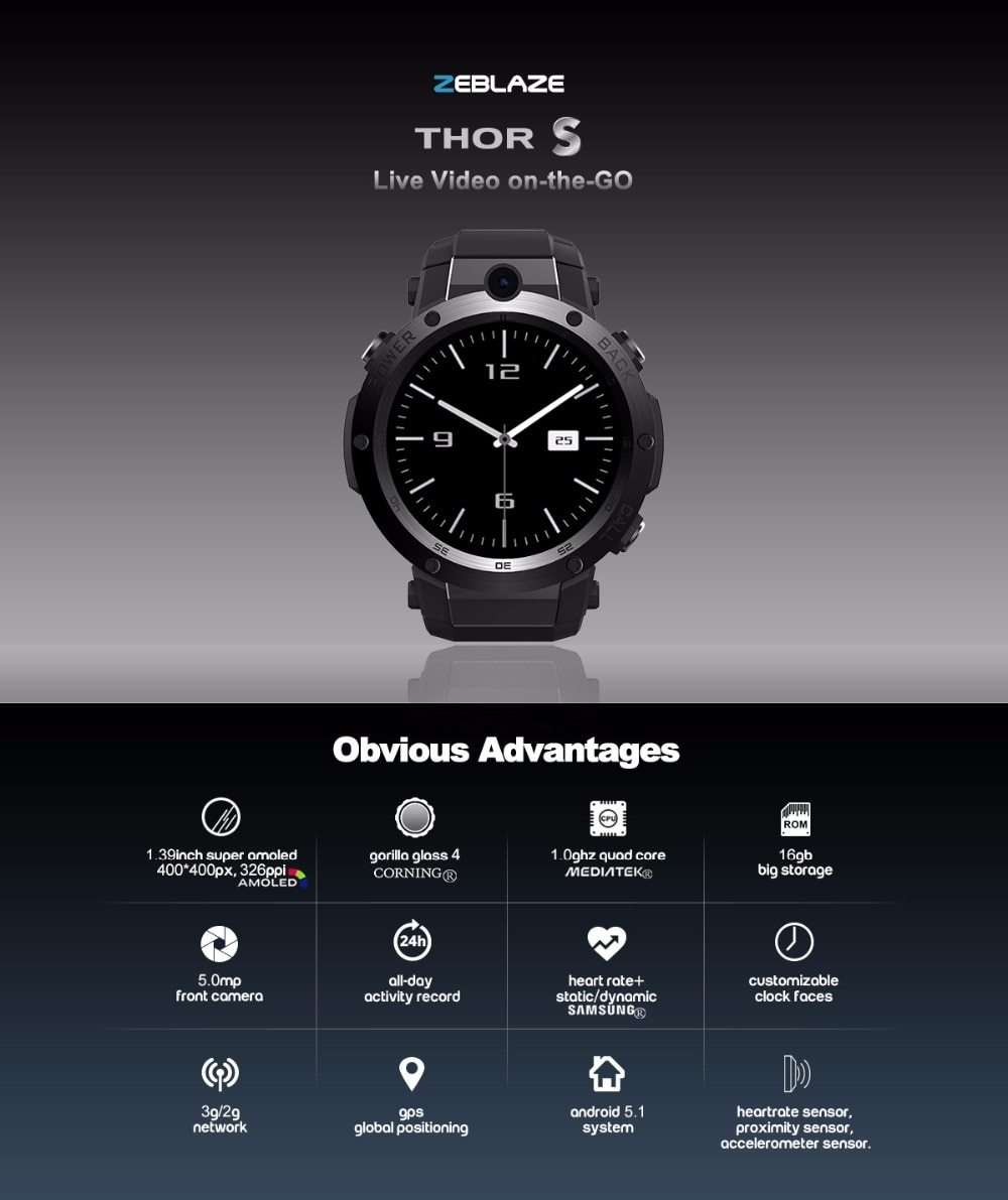 "Montre connectée 1.39"" Android"