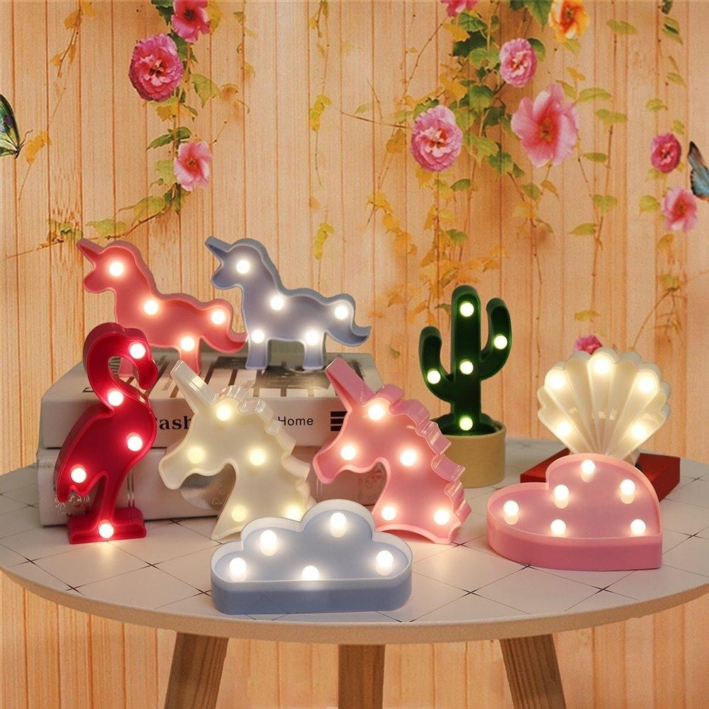 Generic Veilleuse de dessin animé licorne/flamant rose/Cactus