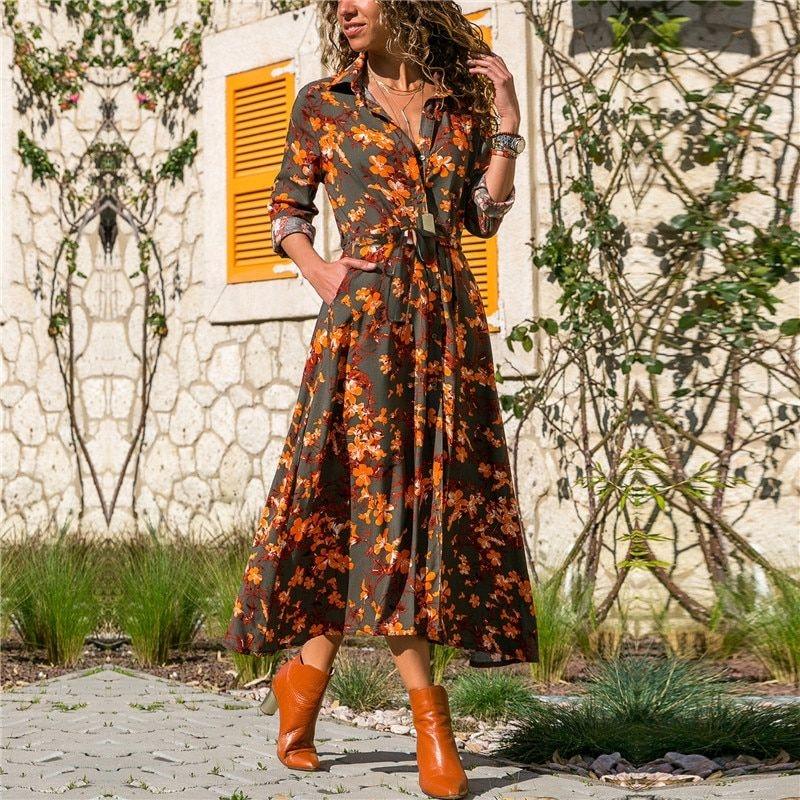 Generic Robe Longue Femmes Imprime Fleuri Ete Plage Robes En Mousseline De Soie Boheme A Manches Longues Vintage Vacances Robe De Fete Vestidos De Fiesta Gray Wt Prix Pas Cher Jumia