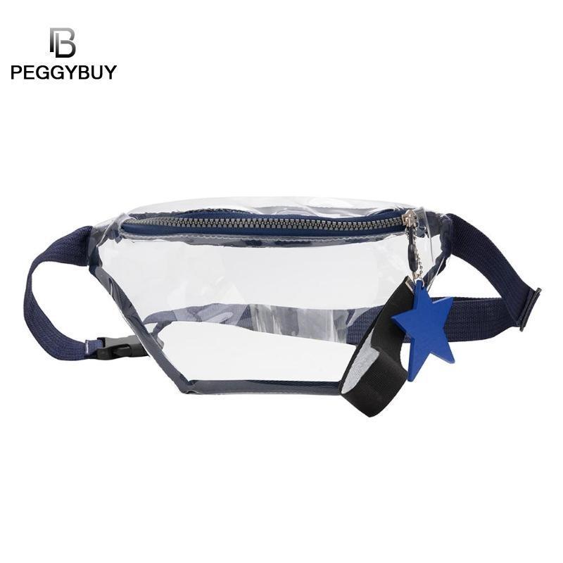 Clear PVC Transparent Fanny Pack Women Sturdy Waist Bag Girls Crossbody Shoulder Bags Messenger Bolsa Femenina New,Black