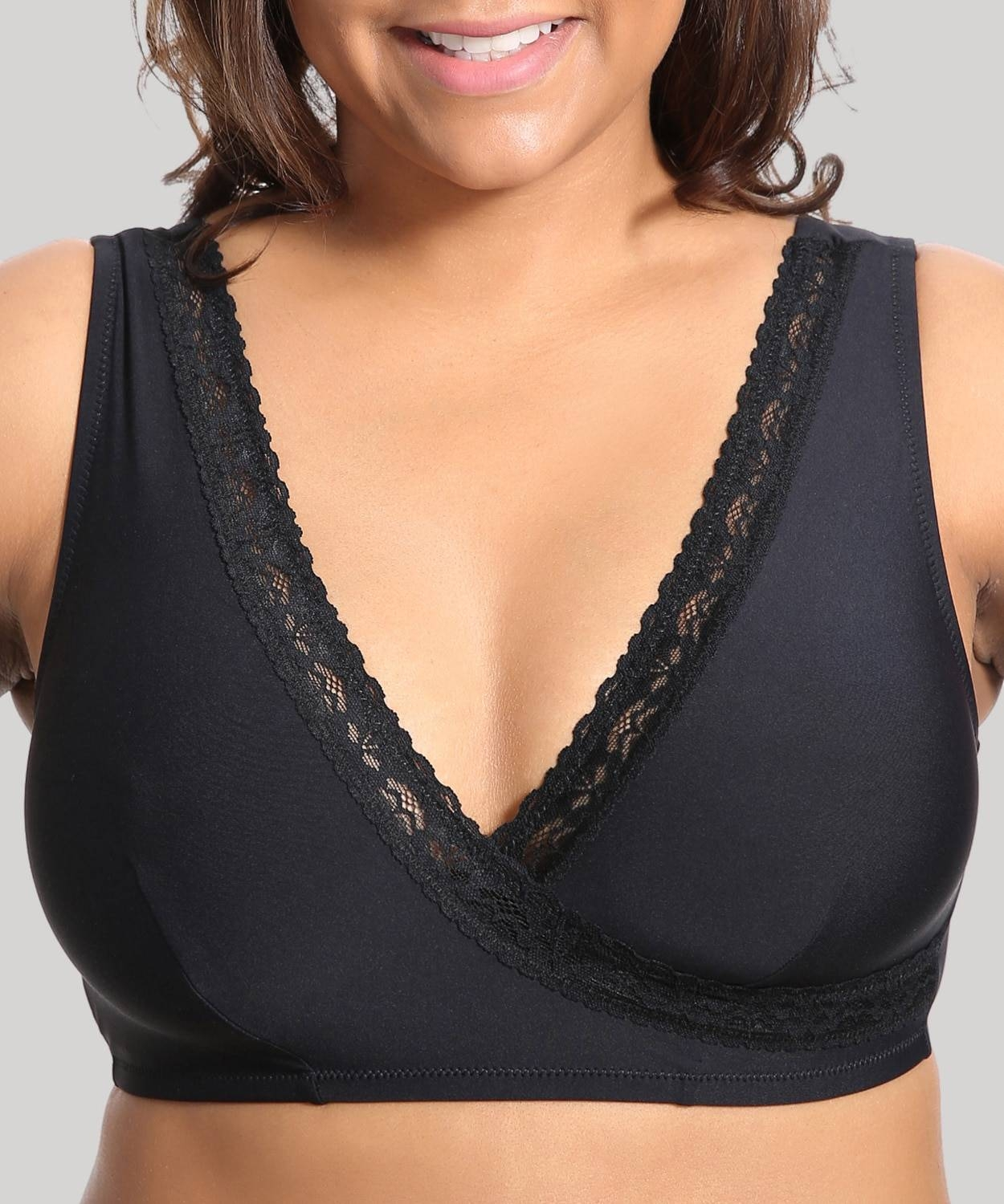 Womens Plus Size Soft Cup Comfort Wirefree Sleep Lace Bra,Mochaccino07,D,44