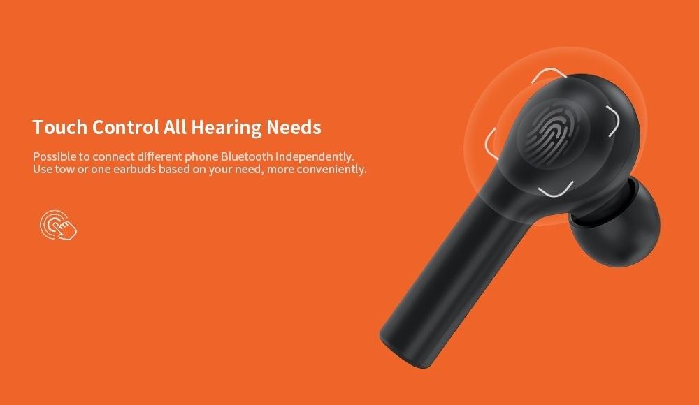 QCY T5 Écouteurs Intra-auriculaires Binauraux Stéréo Bluetooth 5.0 à Charge sans Fil- Noir