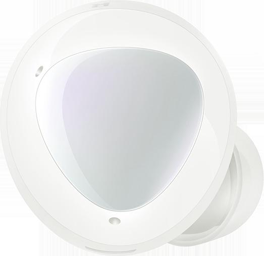 Une surface externe agrandie d'un écouteur gauche avec les deux micros externes étiquetés. Une surface interne agrandie d'un écouteur droit devient transparente pour montrer la position du micro interne.