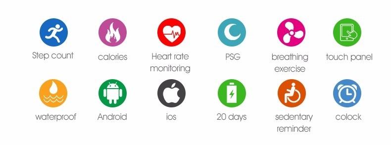 QS60 Heart Rate Measure Smart Wristband Bracele twith Breath Training Pedometer Sleep Tracker Smart Wrist Band with Touch Screen (2)