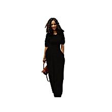 hot style solid color sash pocket long skirt dress-black
