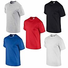 pack 5 t-shirts homme en coton - col rond - manches courtes - bleu royal / rouge / blanc / noir / gris