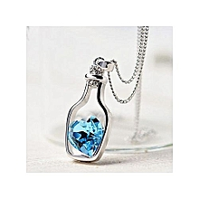 fashion women ladies fashion popular crystal necklace love drift bottles - blue