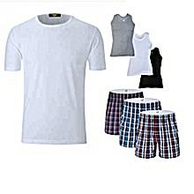 lpack t-shirt col rond blanc + 3 caleçons en tissus +3 débardeurs