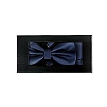 coffret nœud papillon + boutons de manchette + torchon - bleu marine
