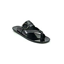 sandale en cuir pour homme - noir - fabrication locale