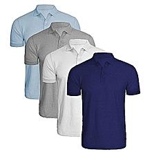 1b9222b2eb084 Pack de 4 Polos Homme - Coton Polyester - Manches Courtes - Bleu Ciel   Gris
