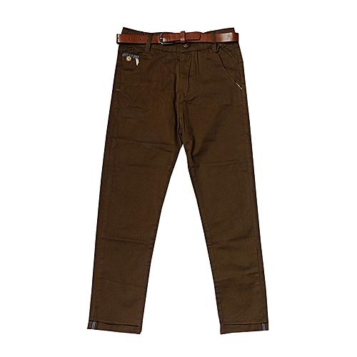 Other Pantalon Kaki pour enfant avec ceinture - Marron - Prix pas ... 30647ba0dcc