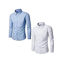 lot de 2 chemises homme - slim fit - longues manches - blanc / bleu ciel