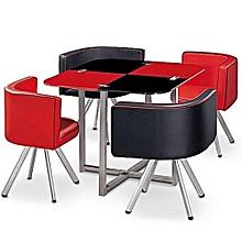 table à manger en verre & aluminium -rouge noir