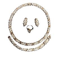 ensemble collier de luxe boucle d'oreilles bracelet et bague - plaqué or