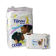 pack 28 couches 8/18 kg + 80 lingettes pour bébé