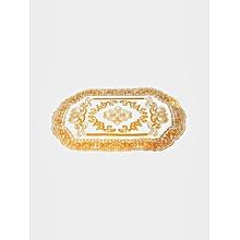 nappe de table pour service - plastique - doré blanc