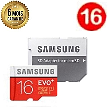 carte mémoire samsung 16go - evo plus - micro sd avec adaptateur sd - garantie 6 mois