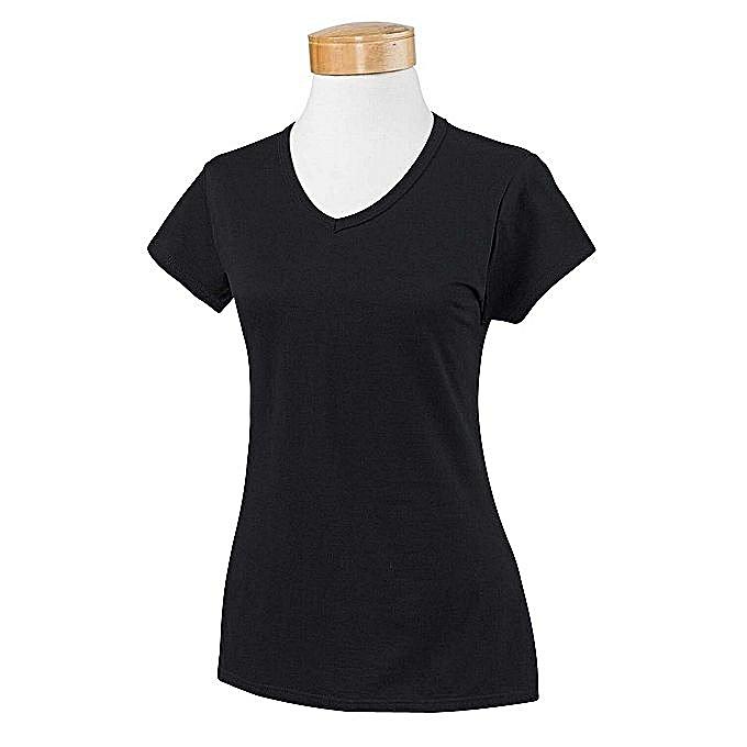 bd46c58db4f9 White Label T-shirt Col V - Coton - Femme - Noir - Prix pas cher ...