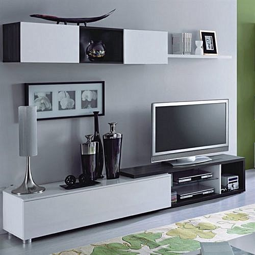 Naia salon meuble tv 240 cm gris cendr blanc brillant for Animateur maison france 5