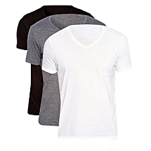 lot de 3 t-shirts slim fit homme - col v - blanc / gris / noir