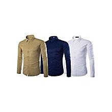 offre spéciale: lot de 3 chemises homme - longues manches - blanc, bleu bic et beige