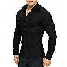 chemises homme longues manches slim fit - noire